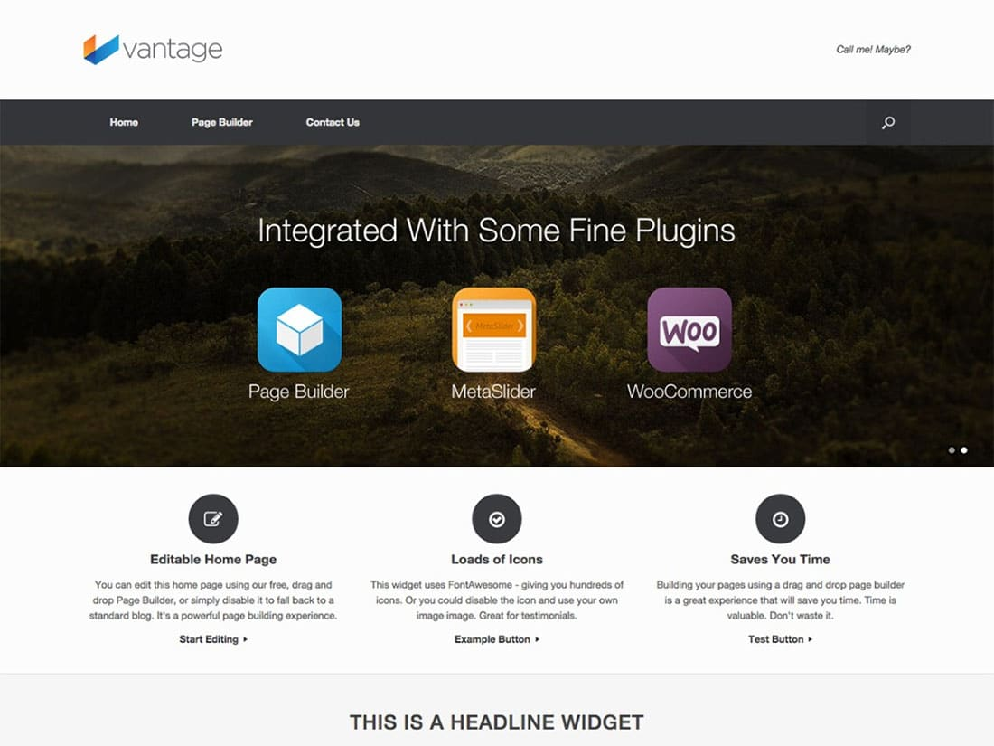 Vantage - 10+ Best Free & Responsive WordPress Themes 2016