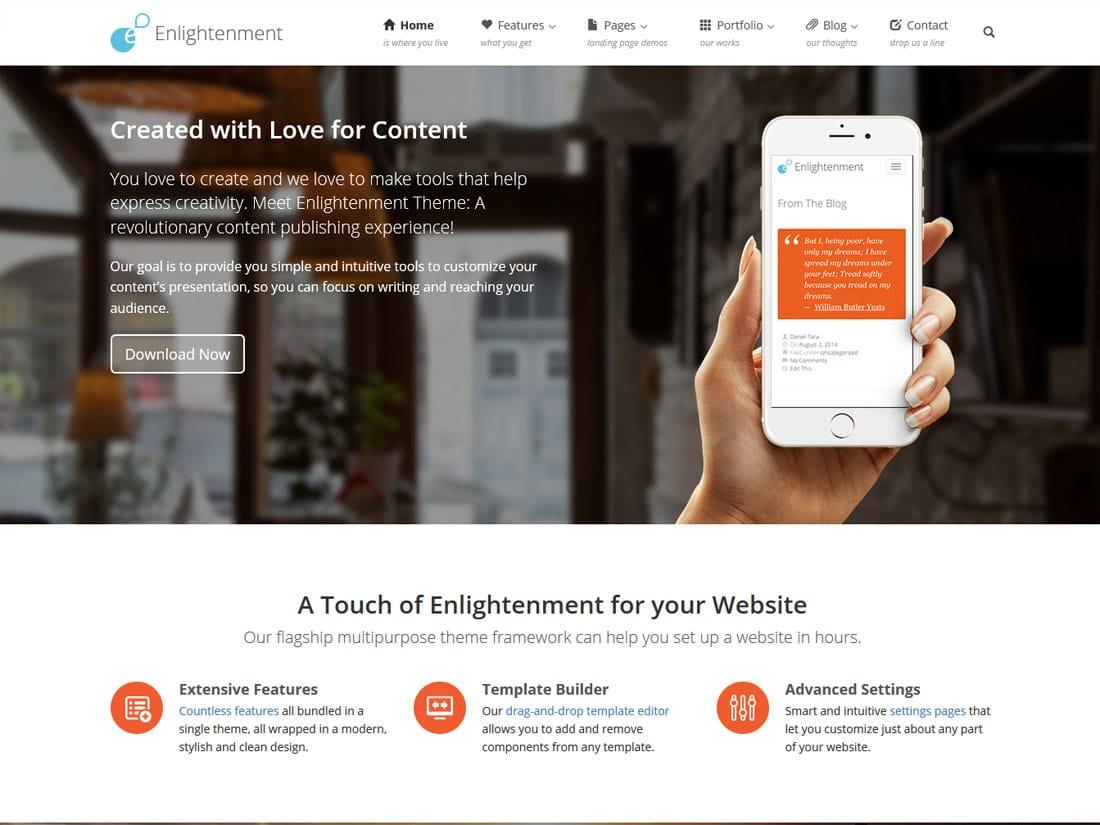 enlightenment - 10+ Best Free & Responsive WordPress Themes 2016
