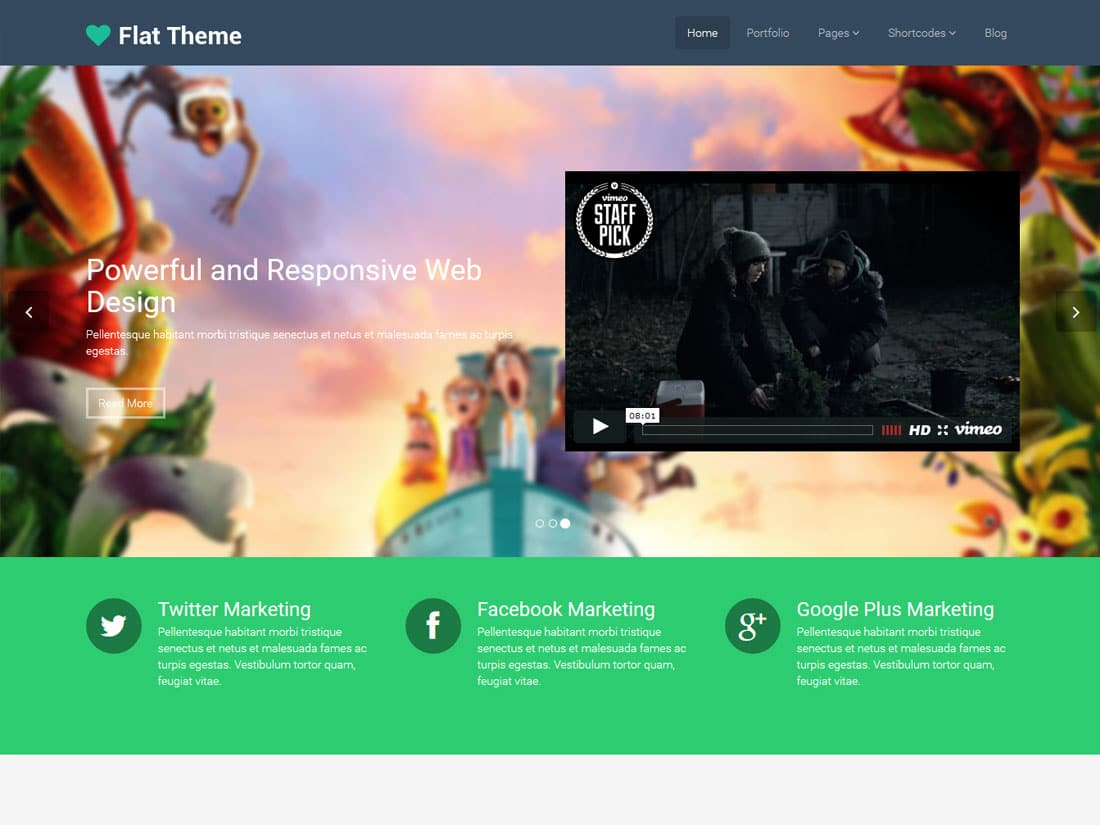 flat theme - 10+ Best Free & Responsive WordPress Themes 2016