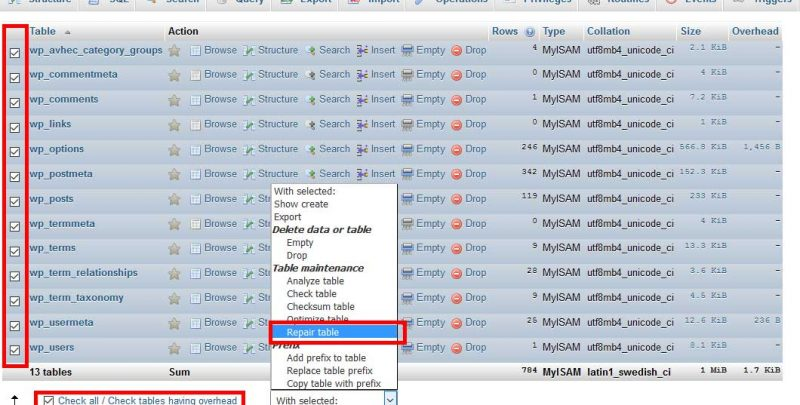Fix WordPress database error: Table ... marked as crashed and should be repaired
