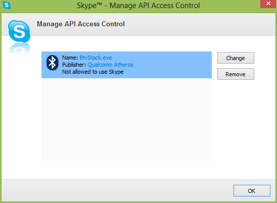 BtvStack.exe skype manage API access manager - BtvStack.exe is requesting access to skype or BtvStack wants to use Skype