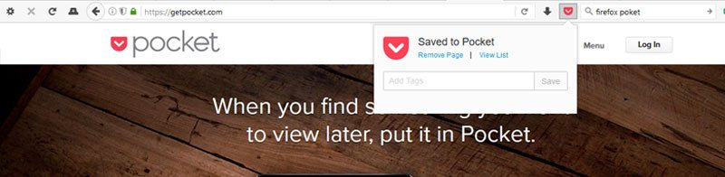 #1: Save web page for later - Pocket