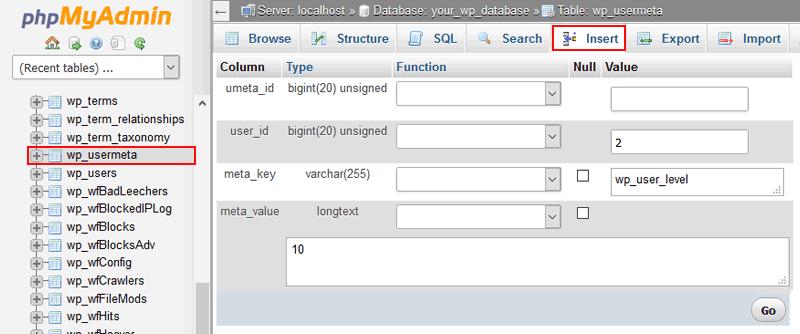 WordPress Inser User Meta 2 - Create a WordPress Admin User via MySQL Database Using PHPMyAdmin