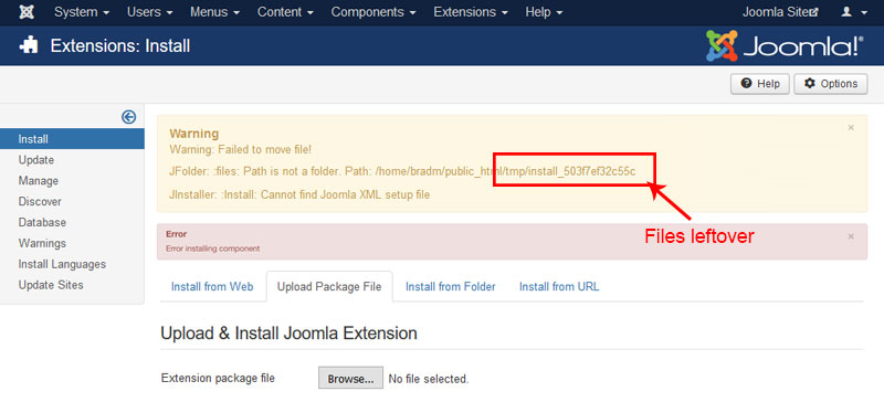 Delete the files in the tmp directory - Joomla Security Checklist Best Practices to Protect From Hackers