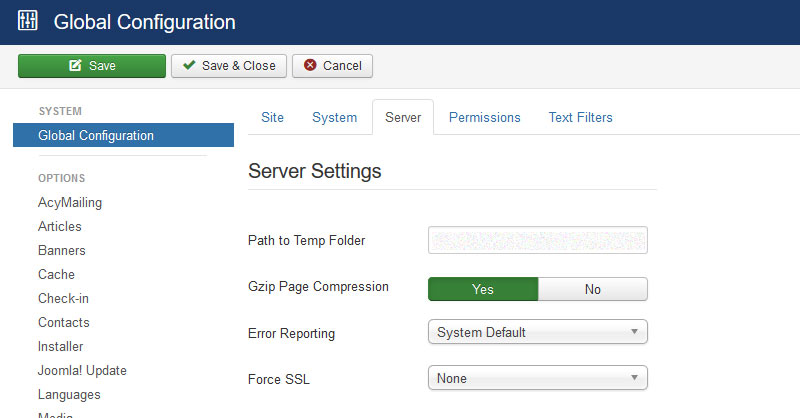 Enable Joomla compression Gzip compression - How to Speed Up Joomla To Improve Site Performance
