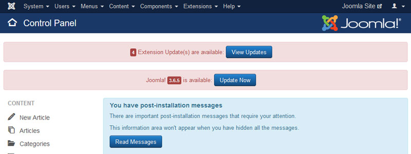 #2: Keep updated to the latest version of Joomla & Extensions
