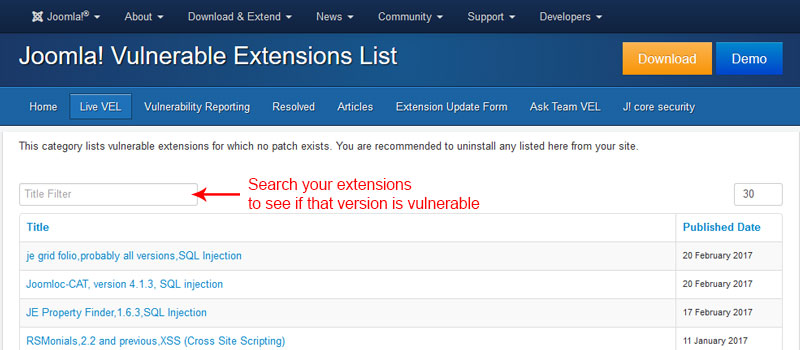 Search extensions to see if that version is vulnerable - Joomla Security Checklist Best Practices to Protect From Hackers