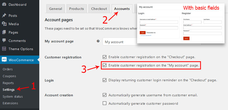 WooCommerce settings to enable the registration form - Custom Fields to WooCommerce Registration Form