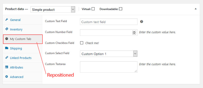WooCommerce Admin Product Data Tab Re position - WooCommerce Admin Custom Product Data Tab