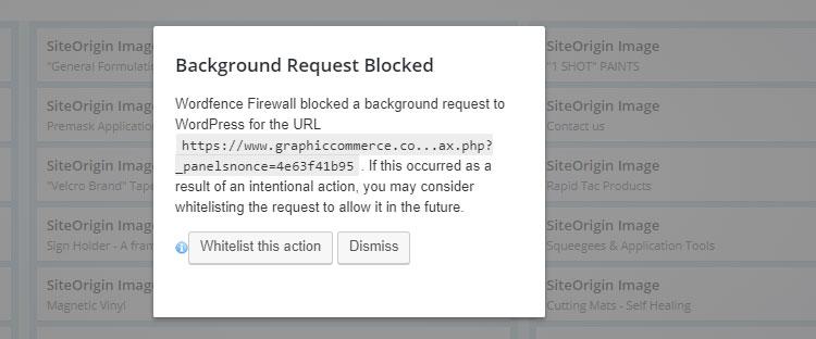 wordfence background request blocked - WordFence Blocked a Background Request to WordPress